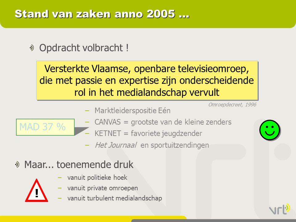 Stand van zaken anno 2005 … Opdracht volbracht ! Versterkte Vlaamse, openbare televisieomroep, die met passie en expertise zijn onderscheidende rol in