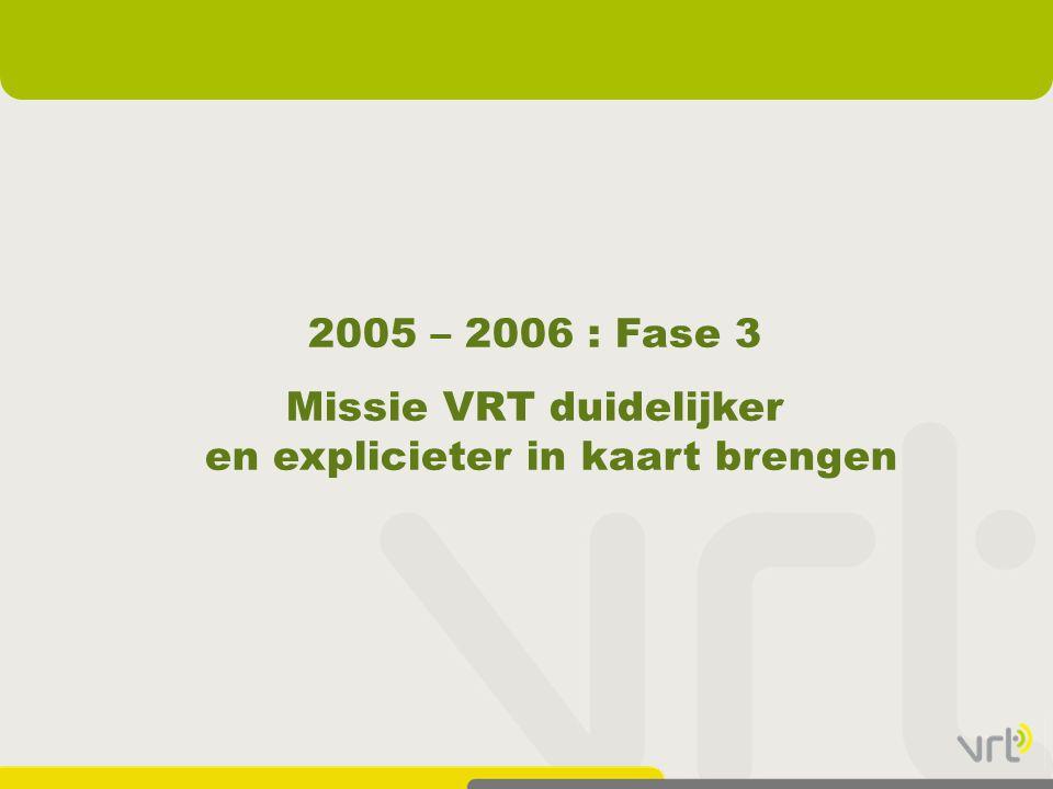 2005 – 2006 : Fase 3 Missie VRT duidelijker en explicieter in kaart brengen