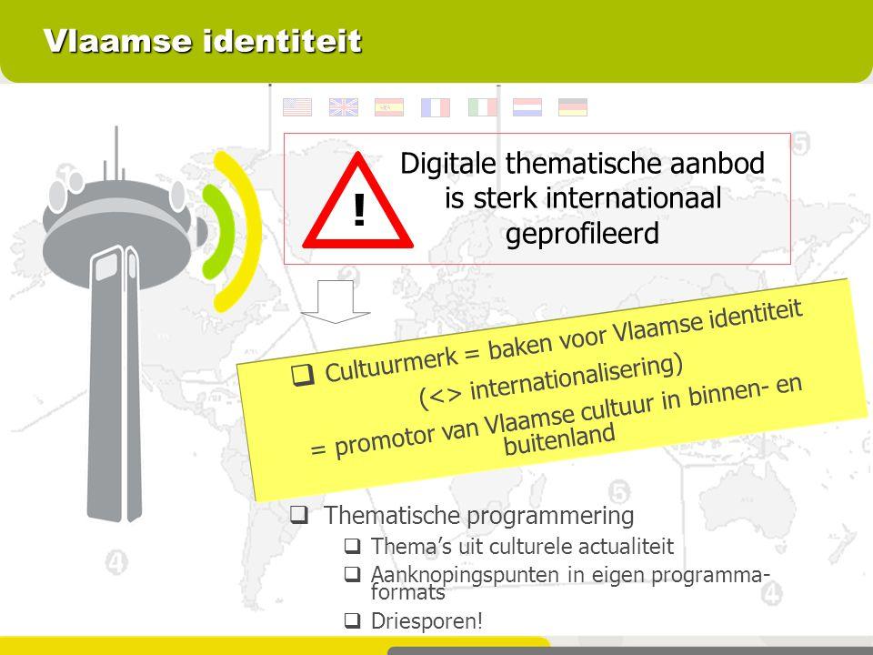 Vlaamse identiteit  Thematische programmering  Thema's uit culturele actualiteit  Aanknopingspunten in eigen programma- formats  Driesporen!  Cul