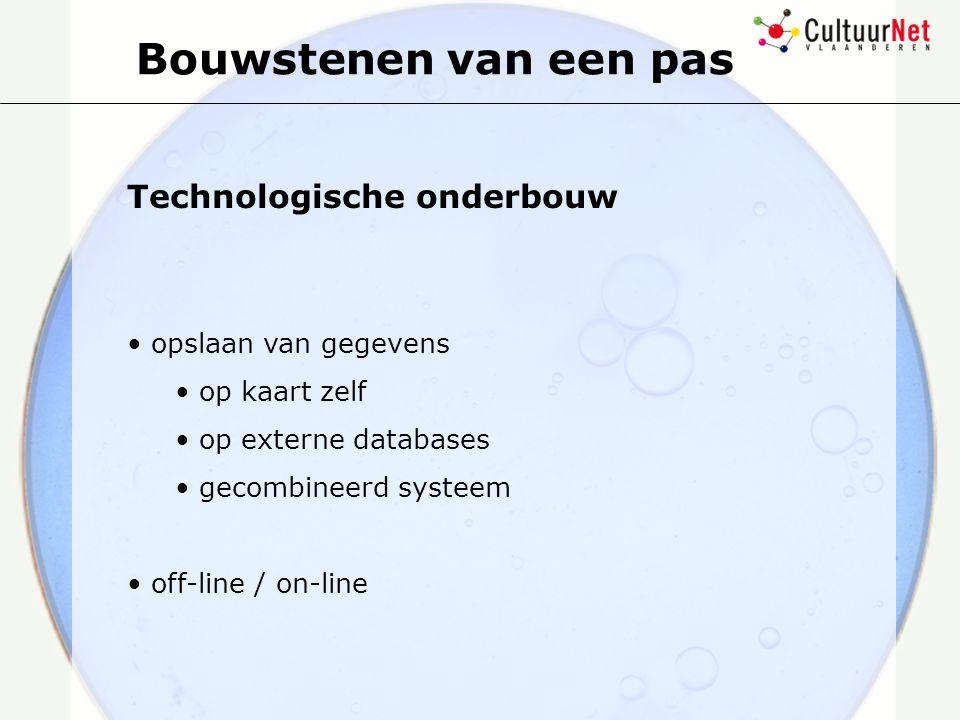 Bouwstenen van een pas Technologische onderbouw opslaan van gegevens op kaart zelf op externe databases gecombineerd systeem off-line / on-line