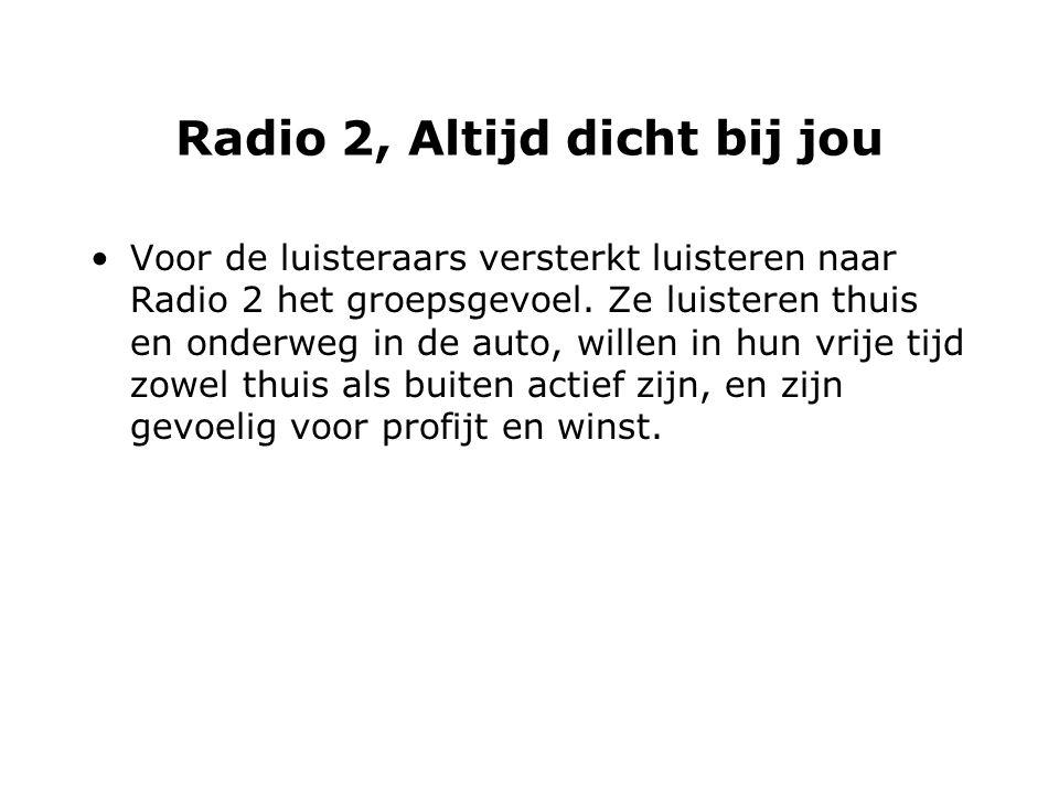 Radio 2, Altijd dicht bij jou Voor de luisteraars versterkt luisteren naar Radio 2 het groepsgevoel.