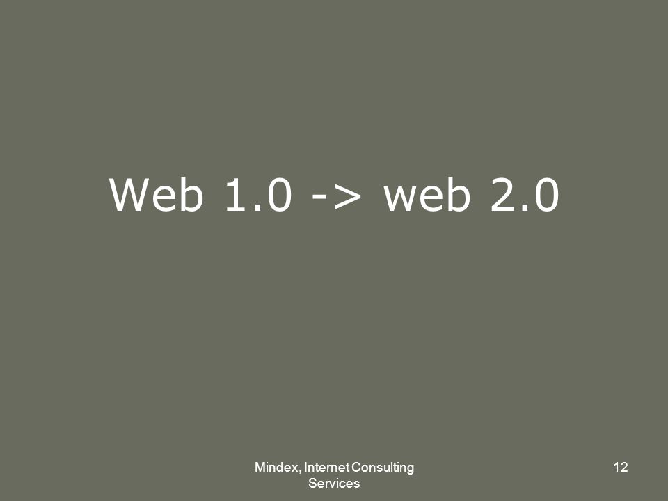 Mindex, Internet Consulting Services 12 Web 1.0 -> web 2.0