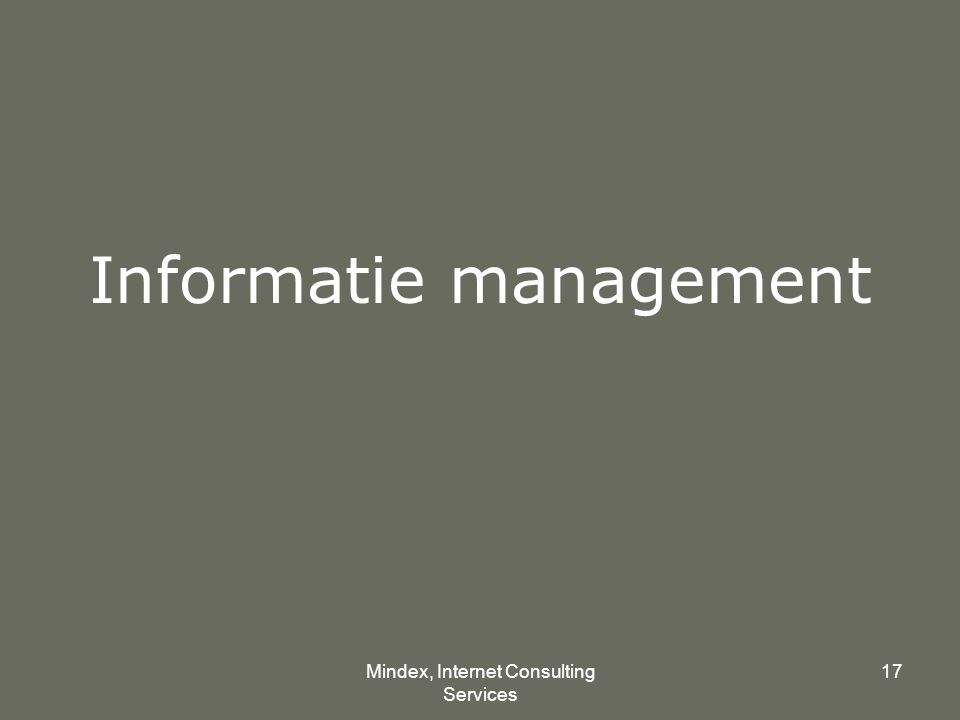 Mindex, Internet Consulting Services 17 Informatie management