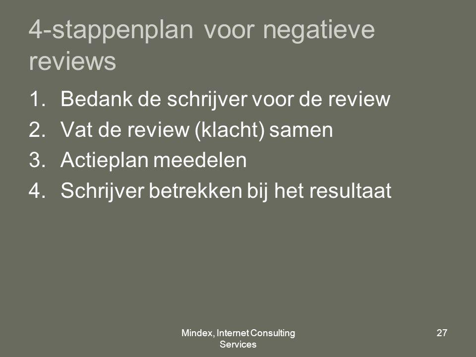 Mindex, Internet Consulting Services 27 4-stappenplan voor negatieve reviews 1.Bedank de schrijver voor de review 2.Vat de review (klacht) samen 3.Actieplan meedelen 4.Schrijver betrekken bij het resultaat