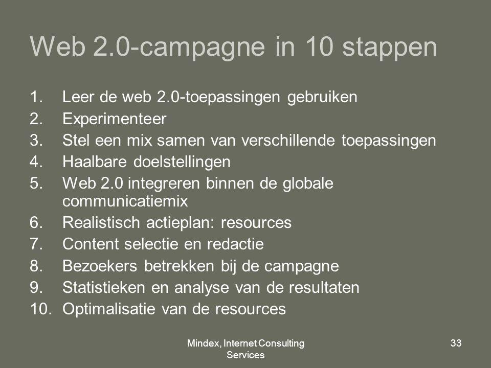 Mindex, Internet Consulting Services 33 Web 2.0-campagne in 10 stappen 1.Leer de web 2.0-toepassingen gebruiken 2.Experimenteer 3.Stel een mix samen van verschillende toepassingen 4.Haalbare doelstellingen 5.Web 2.0 integreren binnen de globale communicatiemix 6.Realistisch actieplan: resources 7.Content selectie en redactie 8.Bezoekers betrekken bij de campagne 9.Statistieken en analyse van de resultaten 10.Optimalisatie van de resources