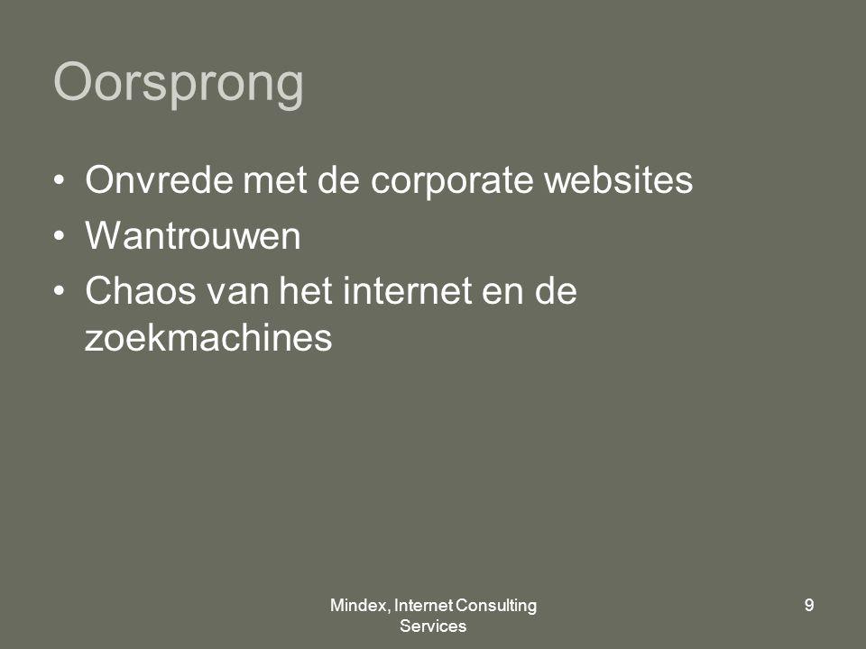 Mindex, Internet Consulting Services 9 Oorsprong Onvrede met de corporate websites Wantrouwen Chaos van het internet en de zoekmachines