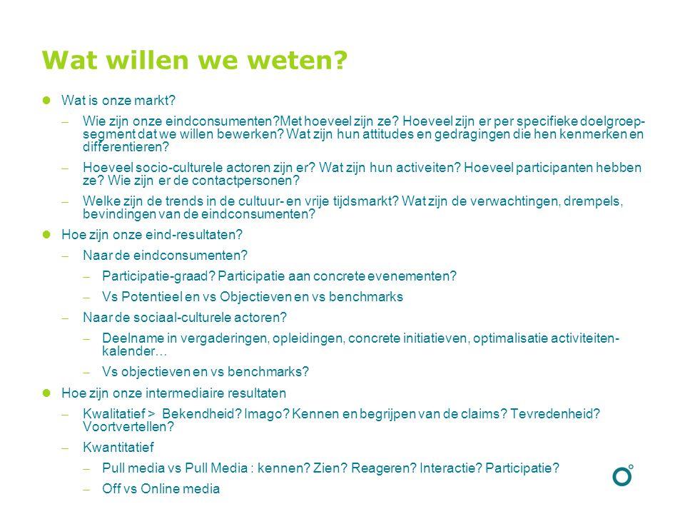 Wat willen we weten? Wat is onze markt?  Wie zijn onze eindconsumenten?Met hoeveel zijn ze? Hoeveel zijn er per specifieke doelgroep- segment dat we
