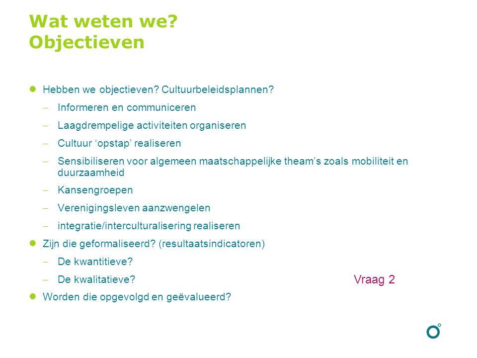 Wat weten we? Objectieven Hebben we objectieven? Cultuurbeleidsplannen?  Informeren en communiceren  Laagdrempelige activiteiten organiseren  Cultu