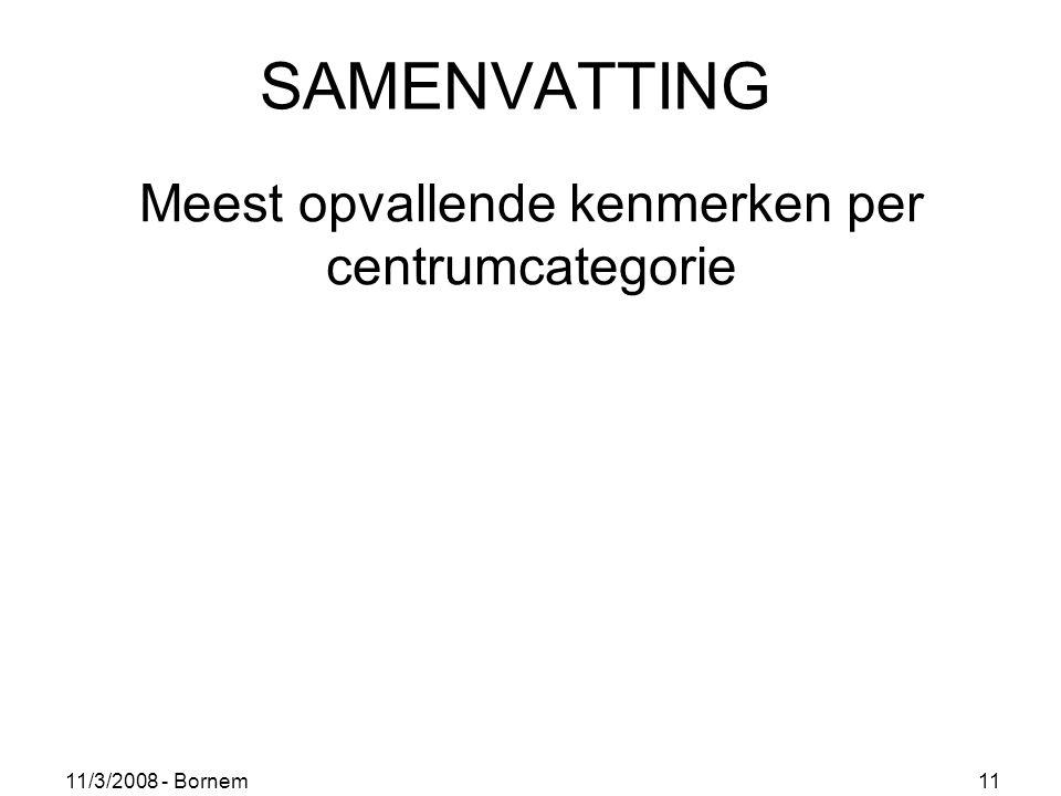 11/3/2008 - Bornem 11 SAMENVATTING Meest opvallende kenmerken per centrumcategorie