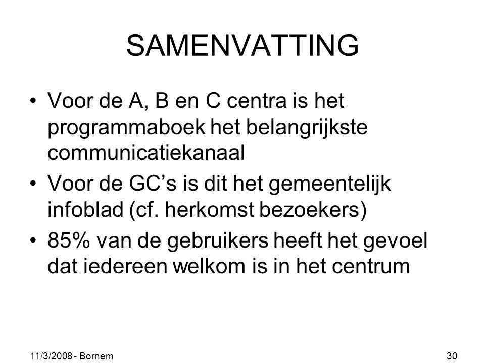 11/3/2008 - Bornem 30 SAMENVATTING Voor de A, B en C centra is het programmaboek het belangrijkste communicatiekanaal Voor de GC's is dit het gemeentelijk infoblad (cf.