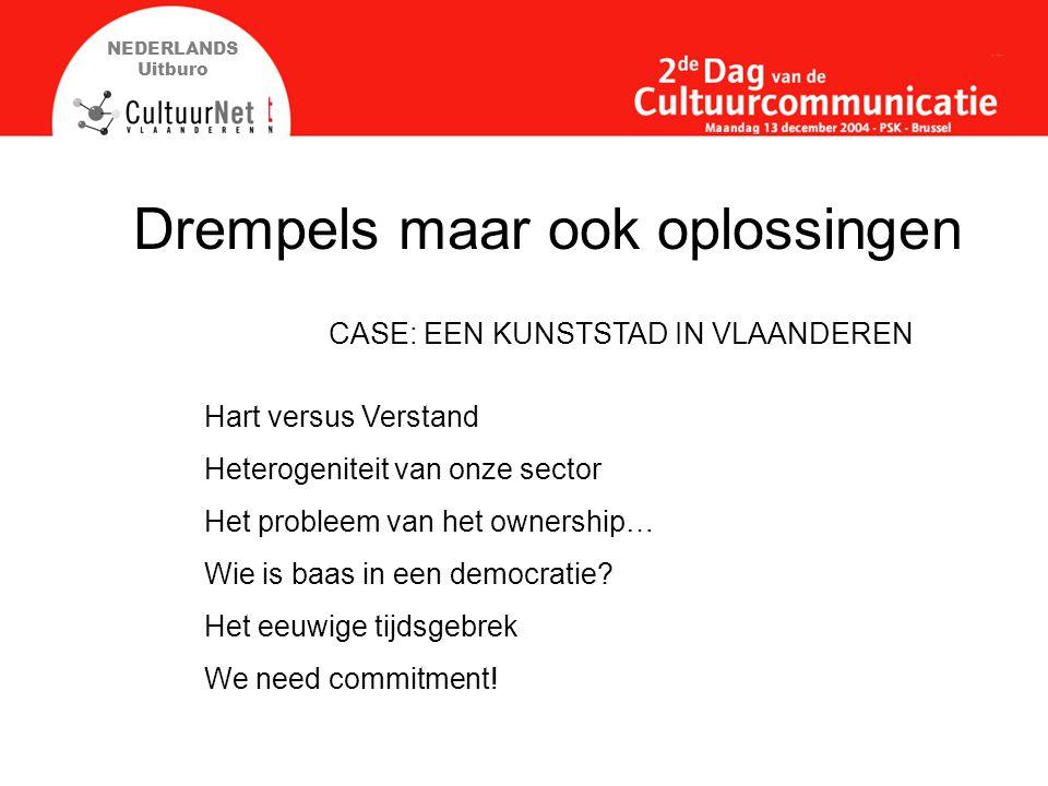 NEDERLANDS Uitburo Drempels maar ook oplossingen Hart versus Verstand Heterogeniteit van onze sector Het probleem van het ownership… Wie is baas in een democratie.