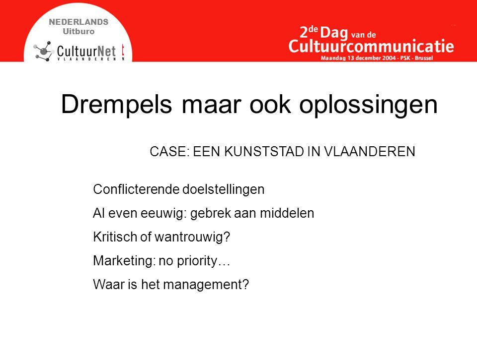 NEDERLANDS Uitburo Drempels maar ook oplossingen Conflicterende doelstellingen Al even eeuwig: gebrek aan middelen Kritisch of wantrouwig.