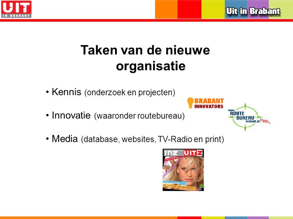 Taken van de nieuwe organisatie Kennis (onderzoek en projecten) Innovatie (waaronder routebureau) Media (database, websites, TV-Radio en print)