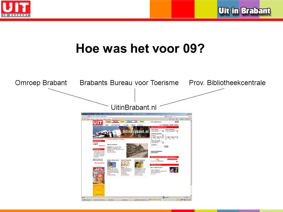 Hoe was het voor 09? UitinBrabant.nl Omroep BrabantBrabants Bureau voor ToerismeProv. Bibliotheekcentrale UitinBrabant.nl
