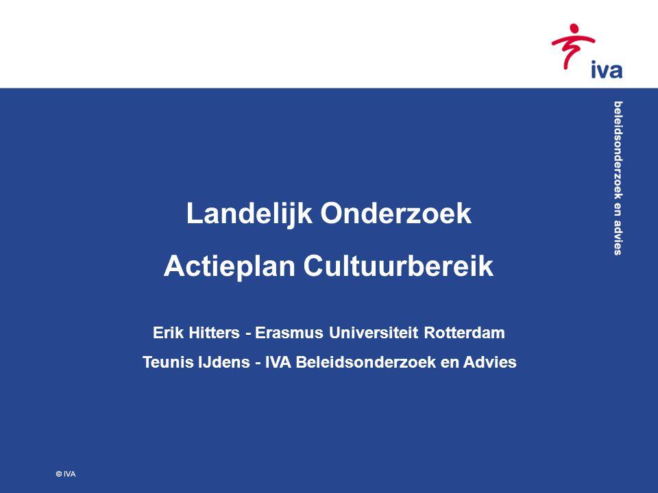 © IVA Landelijk Onderzoek Actieplan Cultuurbereik Erik Hitters - Erasmus Universiteit Rotterdam Teunis IJdens - IVA Beleidsonderzoek en Advies