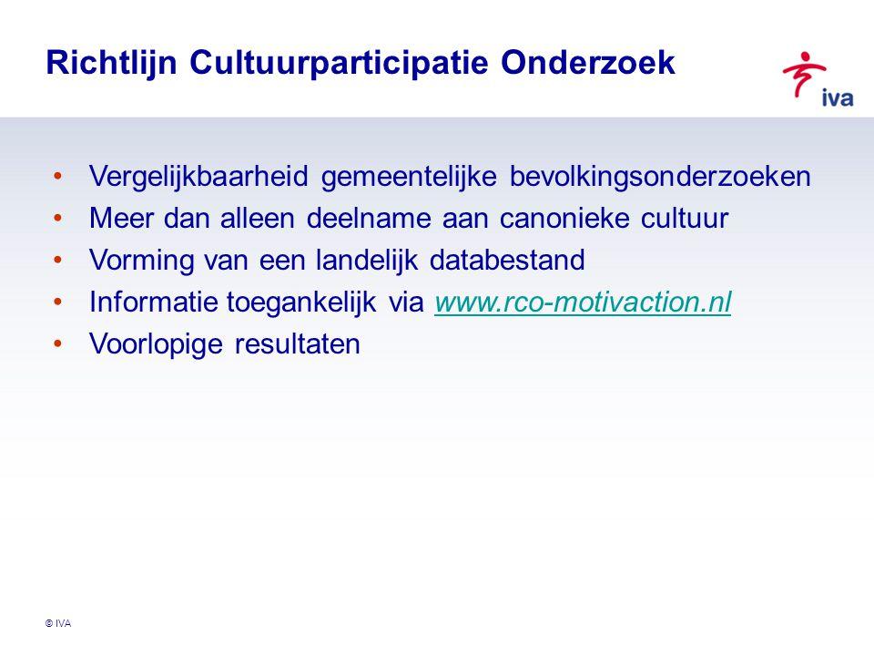 © IVA Richtlijn Cultuurparticipatie Onderzoek Vergelijkbaarheid gemeentelijke bevolkingsonderzoeken Meer dan alleen deelname aan canonieke cultuur Vorming van een landelijk databestand Informatie toegankelijk via www.rco-motivaction.nlwww.rco-motivaction.nl Voorlopige resultaten
