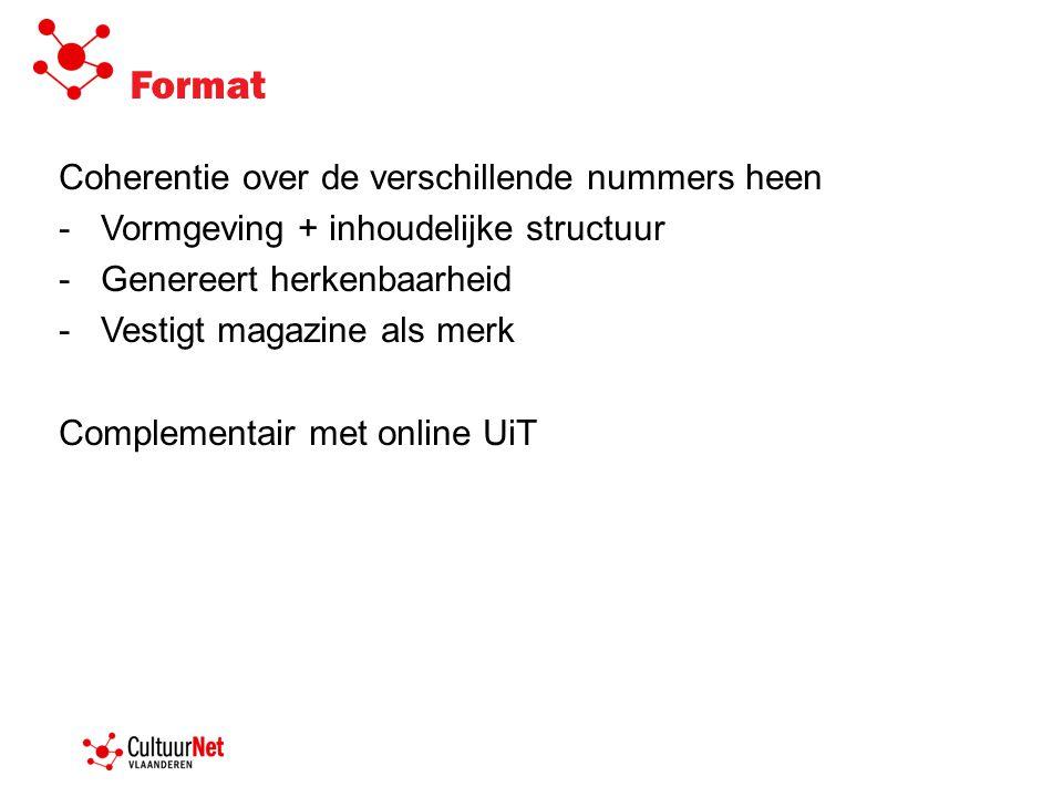 Format Coherentie over de verschillende nummers heen -Vormgeving + inhoudelijke structuur -Genereert herkenbaarheid -Vestigt magazine als merk Complementair met online UiT
