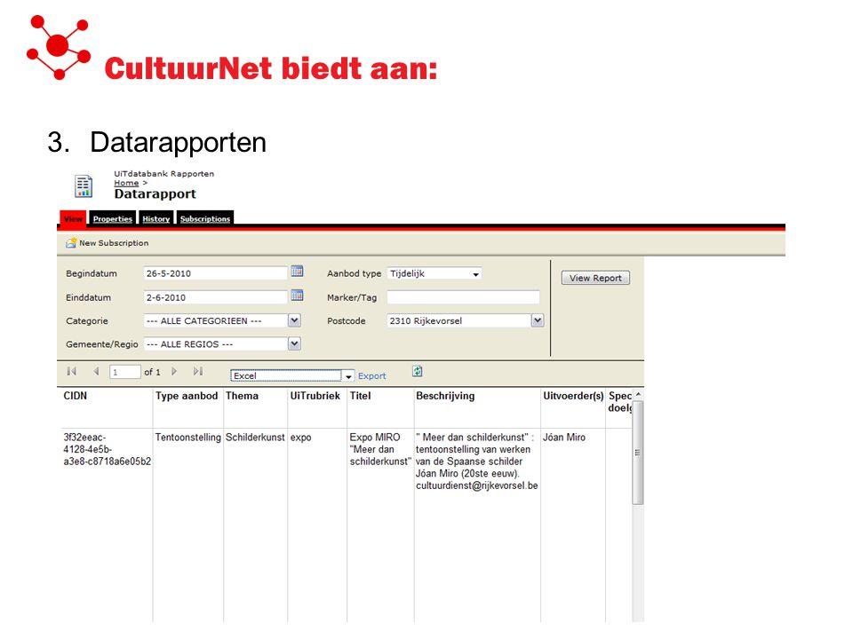 CultuurNet biedt aan: 3.Datarapporten