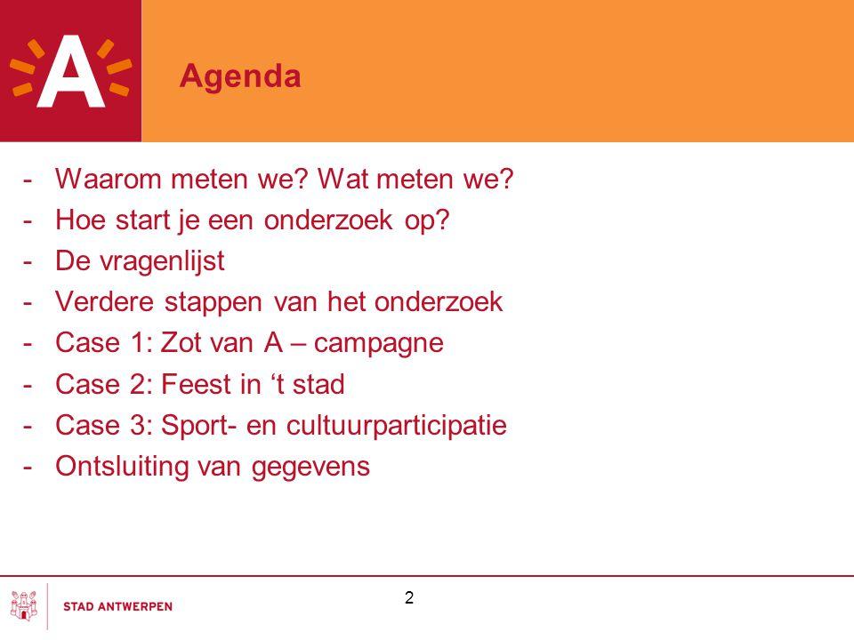 2 Agenda -Waarom meten we? Wat meten we? -Hoe start je een onderzoek op? -De vragenlijst -Verdere stappen van het onderzoek -Case 1: Zot van A – campa