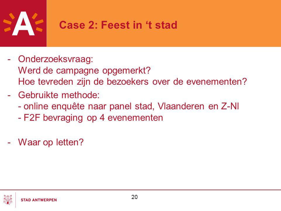 20 Case 2: Feest in 't stad -Onderzoeksvraag: Werd de campagne opgemerkt? Hoe tevreden zijn de bezoekers over de evenementen? -Gebruikte methode: - on
