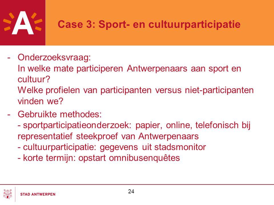 24 Case 3: Sport- en cultuurparticipatie -Onderzoeksvraag: In welke mate participeren Antwerpenaars aan sport en cultuur? Welke profielen van particip