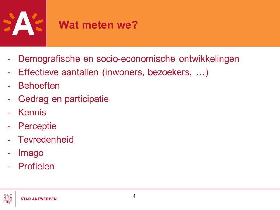 4 Wat meten we? -Demografische en socio-economische ontwikkelingen -Effectieve aantallen (inwoners, bezoekers, …) -Behoeften -Gedrag en participatie -