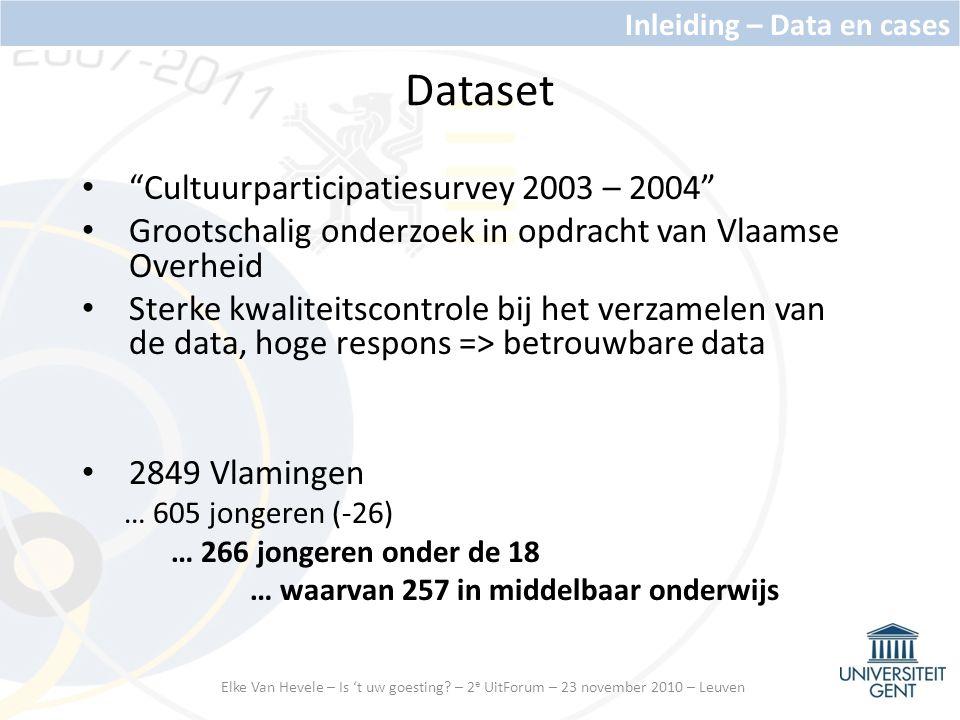 Dataset Cultuurparticipatiesurvey 2003 – 2004 Grootschalig onderzoek in opdracht van Vlaamse Overheid Sterke kwaliteitscontrole bij het verzamelen van de data, hoge respons => betrouwbare data 2849 Vlamingen … 605 jongeren (-26) … 266 jongeren onder de 18 … waarvan 257 in middelbaar onderwijs Inleiding – Data en cases Elke Van Hevele – Is 't uw goesting.