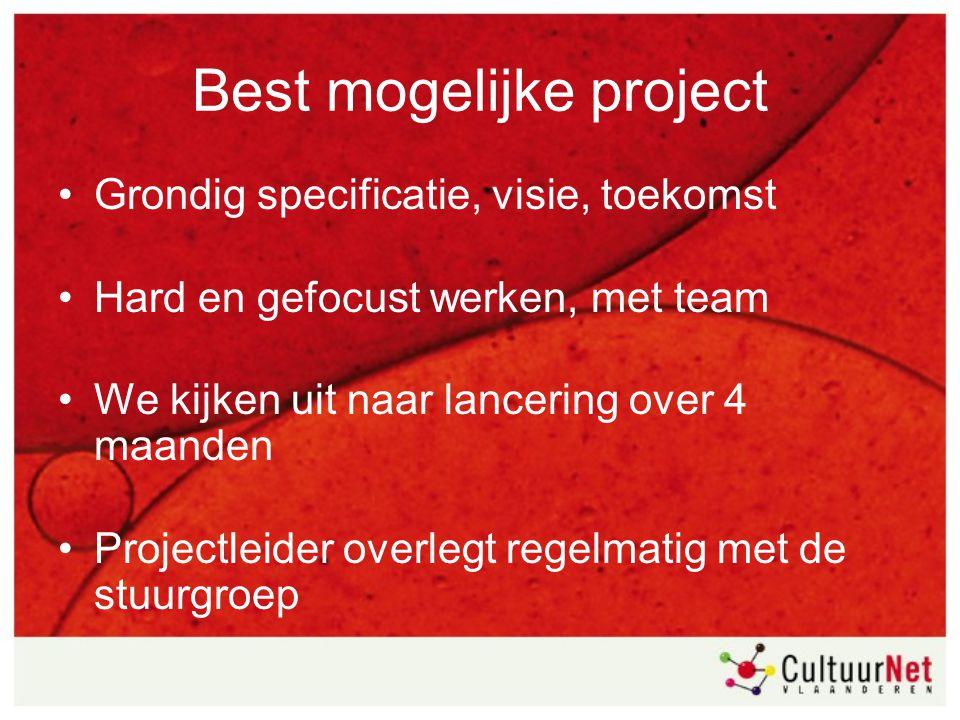 Best mogelijke project Grondig specificatie, visie, toekomst Hard en gefocust werken, met team We kijken uit naar lancering over 4 maanden Projectleid