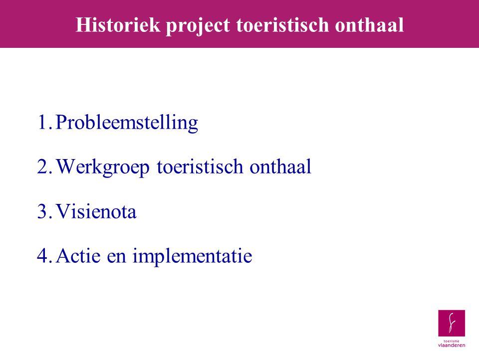 1.Probleemstelling 2.Werkgroep toeristisch onthaal 3.Visienota 4.Actie en implementatie Historiek project toeristisch onthaal