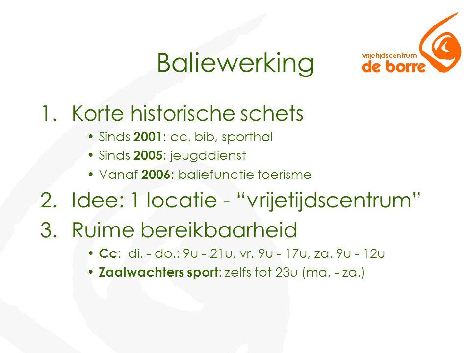 Baliewerking 1.Korte historische schets Sinds 2001 : cc, bib, sporthal Sinds 2005 : jeugddienst Vanaf 2006 : baliefunctie toerisme 2.Idee: 1 locatie -