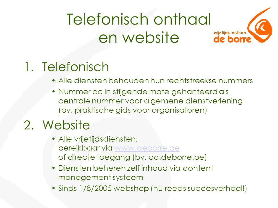 Telefonisch onthaal en website 1.Telefonisch Alle diensten behouden hun rechtstreekse nummers Nummer cc in stijgende mate gehanteerd als centrale nummer voor algemene dienstverlening (bv.