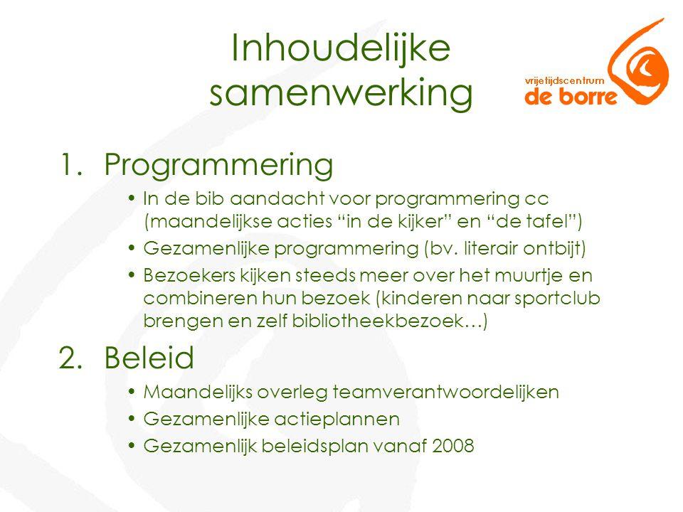 Inhoudelijke samenwerking 1.Programmering In de bib aandacht voor programmering cc (maandelijkse acties in de kijker en de tafel ) Gezamenlijke programmering (bv.