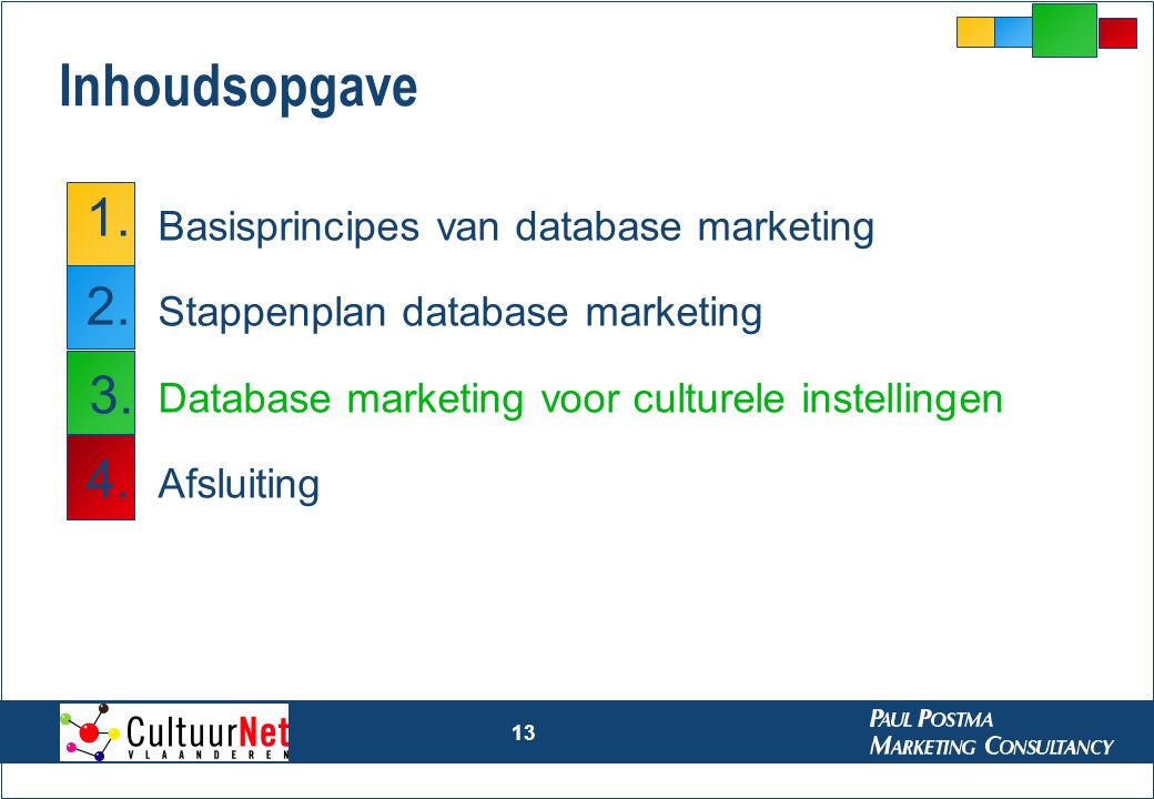 13 Inhoudsopgave Basisprincipes van database marketing Stappenplan database marketing Database marketing voor culturele instellingen Afsluiting 1. 2.