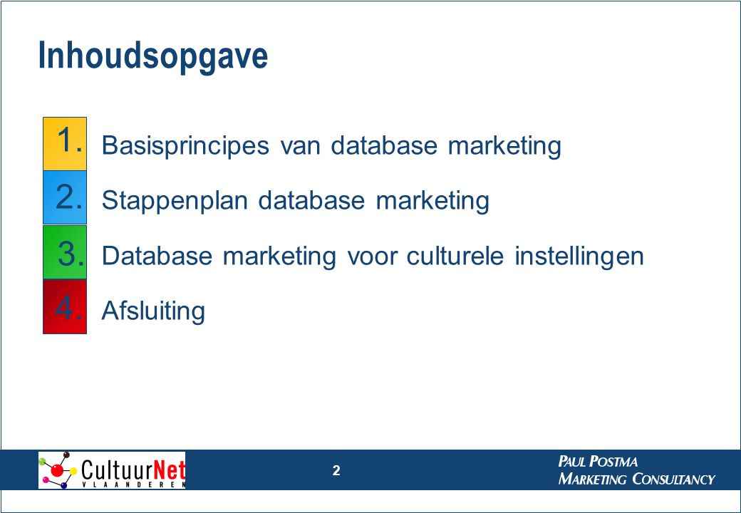 2 Inhoudsopgave Basisprincipes van database marketing Stappenplan database marketing Database marketing voor culturele instellingen Afsluiting 1. 2. 3
