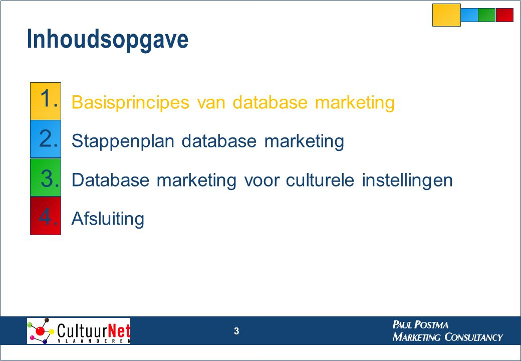 3 Inhoudsopgave Basisprincipes van database marketing Stappenplan database marketing Database marketing voor culturele instellingen Afsluiting 1. 2. 3