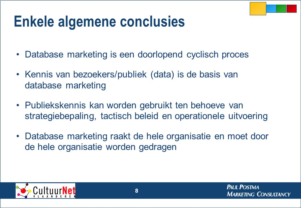 8 Enkele algemene conclusies Database marketing is een doorlopend cyclisch proces Kennis van bezoekers/publiek (data) is de basis van database marketi