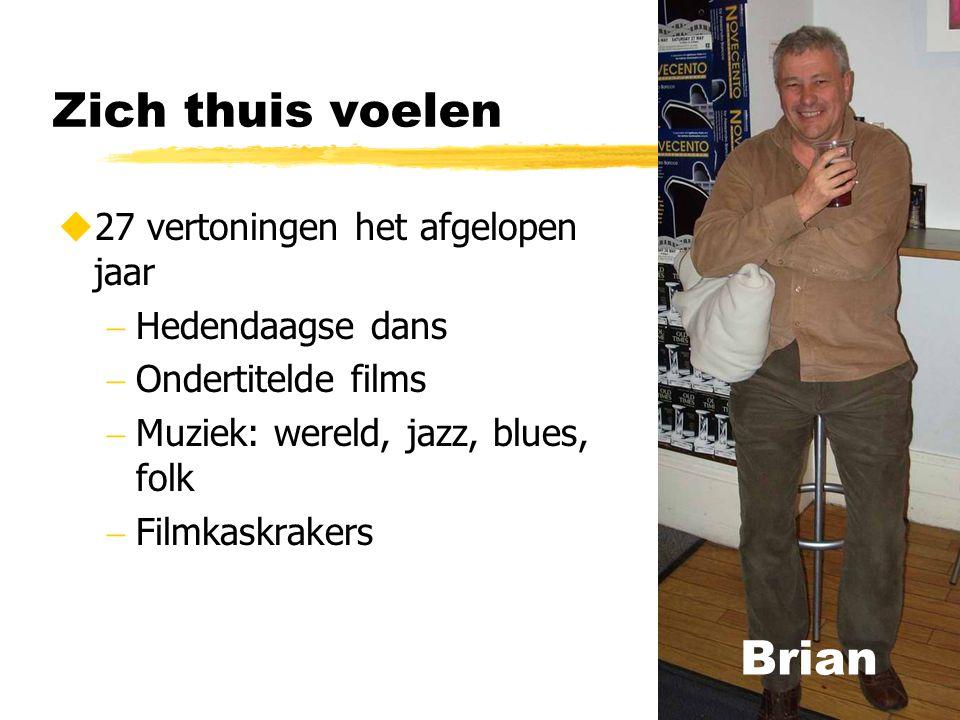 Zich thuis voelen  27 vertoningen het afgelopen jaar  Hedendaagse dans  Ondertitelde films  Muziek: wereld, jazz, blues, folk  Filmkaskrakers Brian