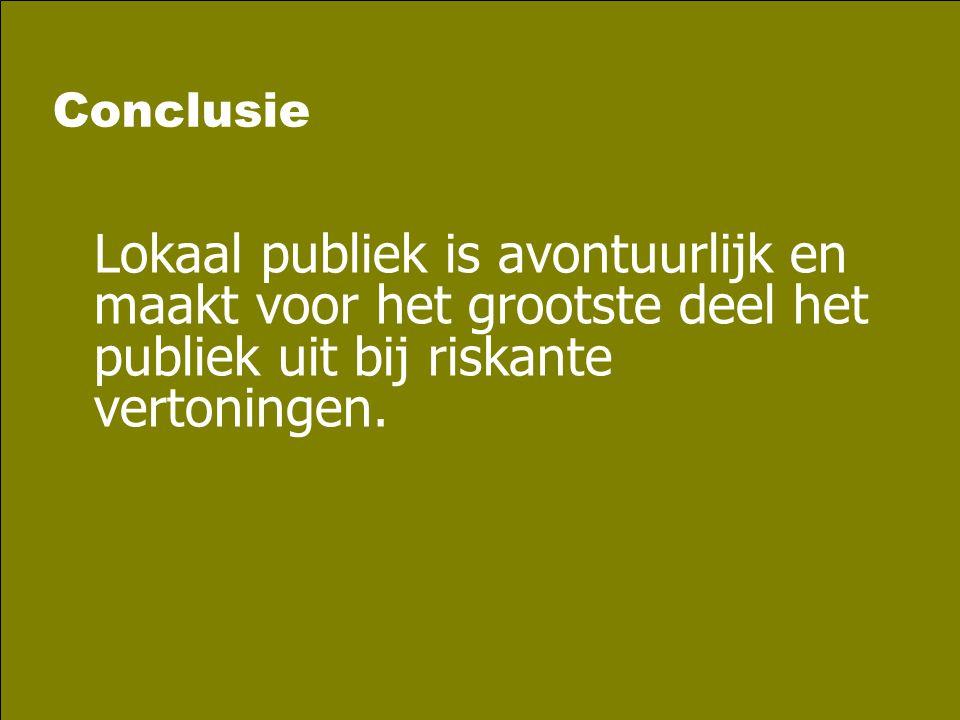Conclusie Lokaal publiek is avontuurlijk en maakt voor het grootste deel het publiek uit bij riskante vertoningen.
