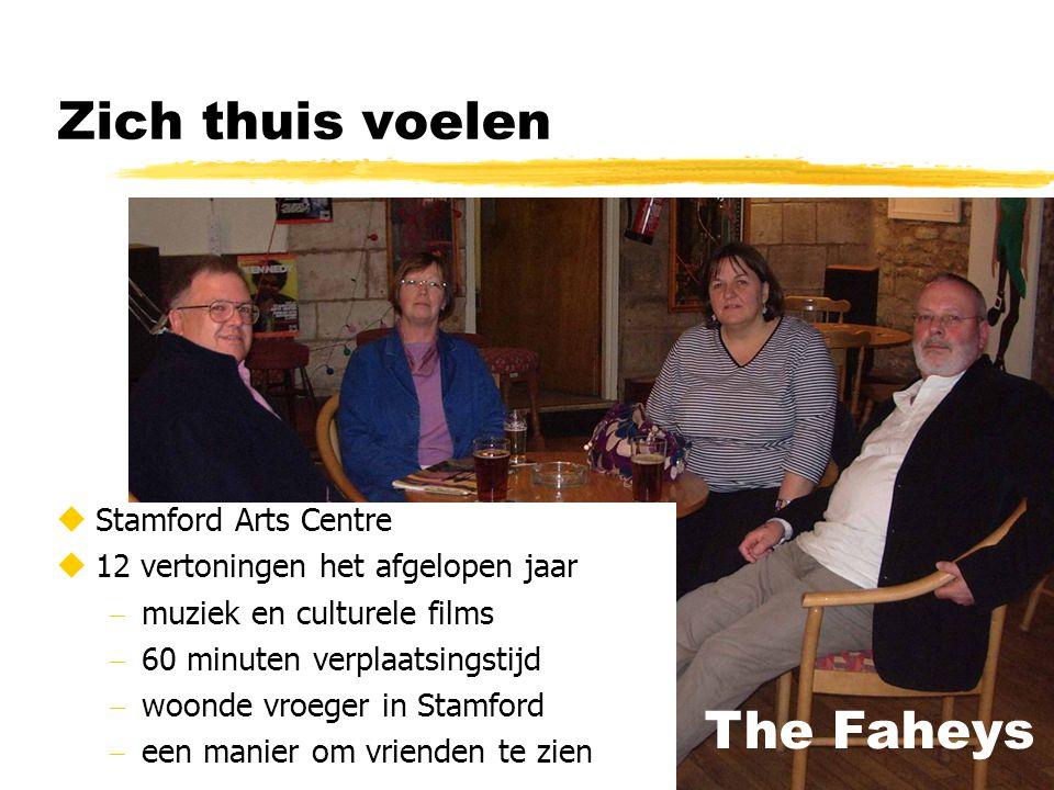 Zich thuis voelen  Stamford Arts Centre  12 vertoningen het afgelopen jaar  muziek en culturele films  60 minuten verplaatsingstijd  woonde vroeger in Stamford  een manier om vrienden te zien The Faheys