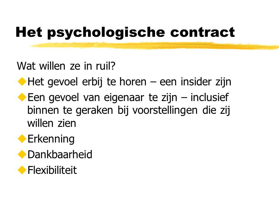 Het psychologische contract Wat willen ze in ruil?  Het gevoel erbij te horen – een insider zijn  Een gevoel van eigenaar te zijn – inclusief binnen