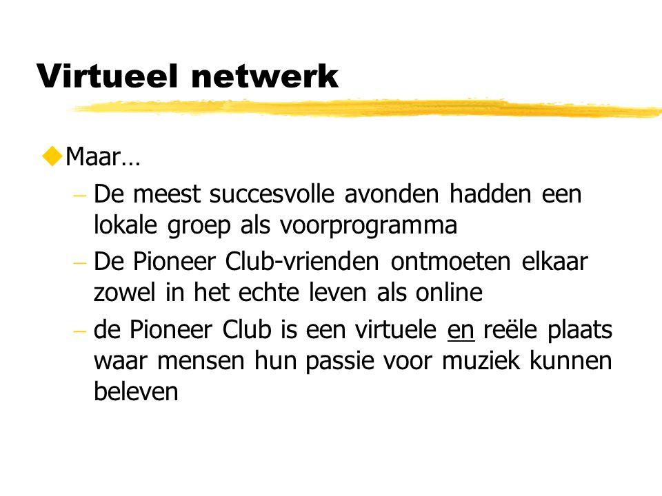 Virtueel netwerk  Maar…  De meest succesvolle avonden hadden een lokale groep als voorprogramma  De Pioneer Club-vrienden ontmoeten elkaar zowel in