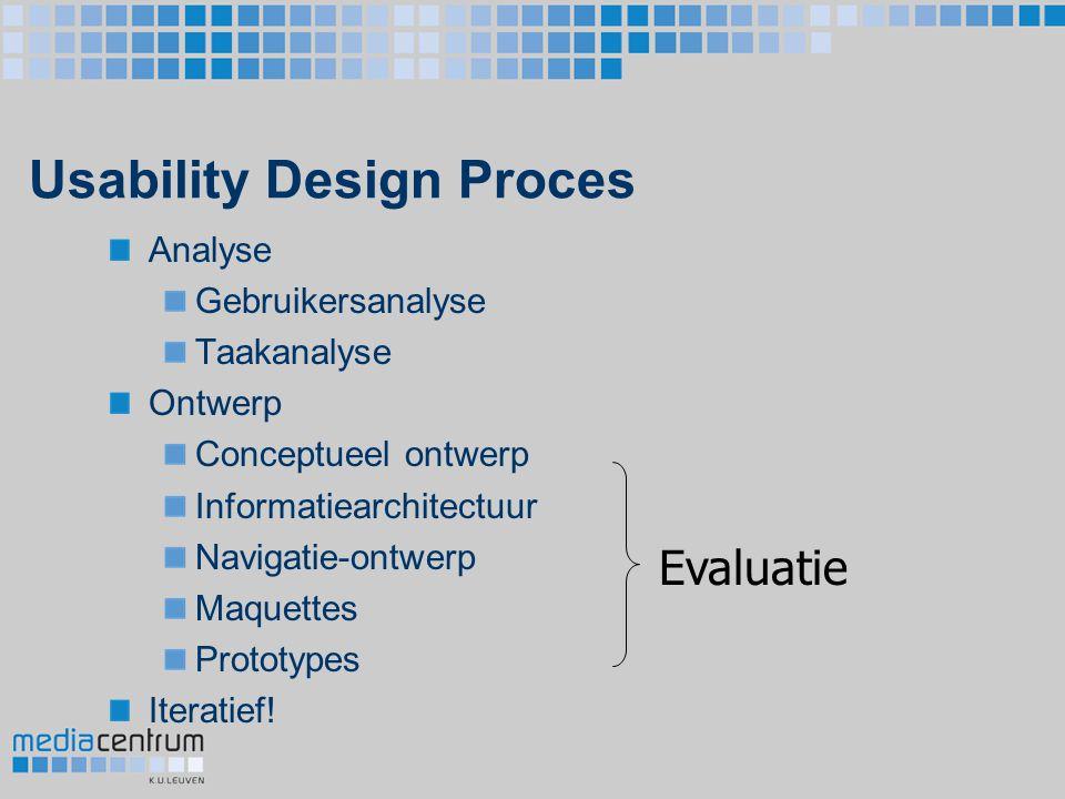 Usability Design Proces Analyse Gebruikersanalyse Taakanalyse Ontwerp Conceptueel ontwerp Informatiearchitectuur Navigatie-ontwerp Maquettes Prototype