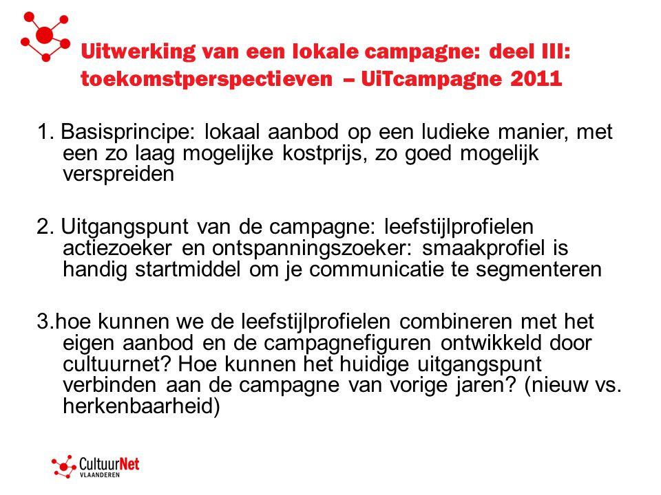 Uitwerking van een lokale campagne: deel III: toekomstperspectieven – UiTcampagne 2011 1. Basisprincipe: lokaal aanbod op een ludieke manier, met een