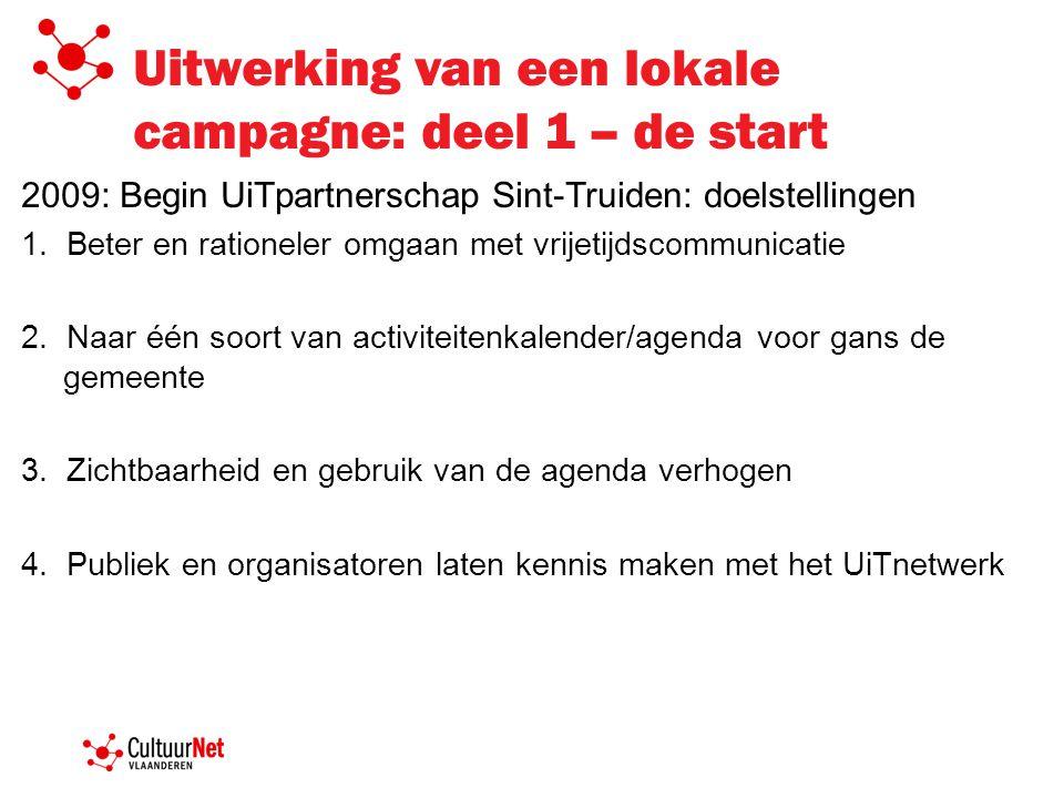 Uitwerking van een lokale campagne: de campagne zelf 2009: UiTcampagne en promotie van het UiTnetwerk: vertrekpunt = UiTagenda: www.uitinsint-truiden.be (widget)www.uitinsint-truiden.be Magazine UiT in Sint-Truiden A2 Affiches met de 3 campagnebeelden Banners op websites beschreven in het hoofdstuk 'Doelgroepen'.