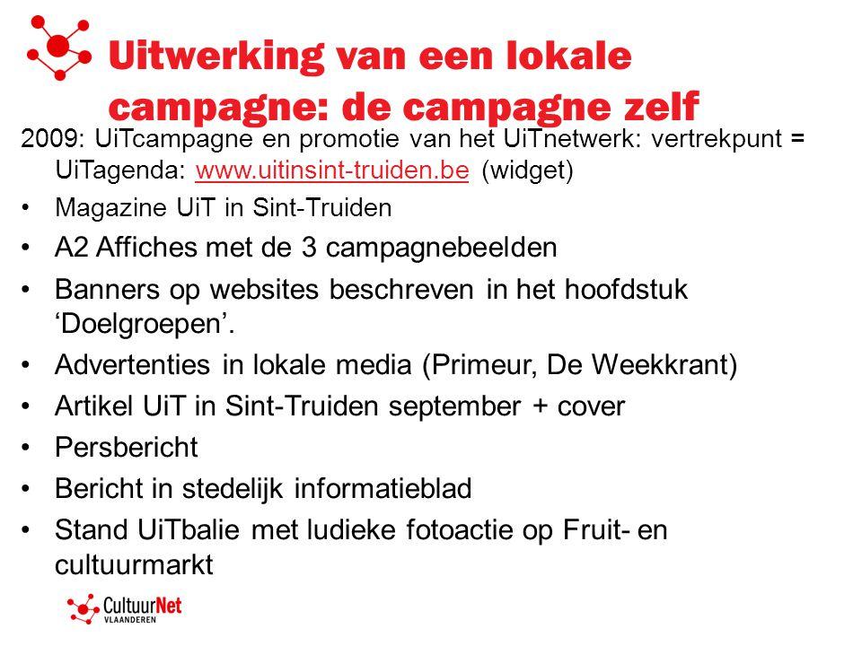 Uitwerking van een lokale campagne: de campagne zelf 2009: UiTcampagne en promotie van het UiTnetwerk: vertrekpunt = UiTagenda: www.uitinsint-truiden.