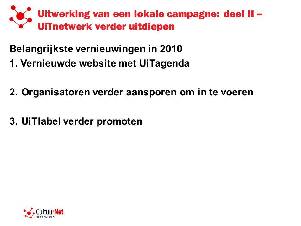 Uitwerking van een lokale campagne: deel II – UiTnetwerk verder uitdiepen Belangrijkste vernieuwingen in 2010 1. Vernieuwde website met UiTagenda 2.Or