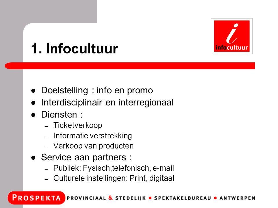 1. Infocultuur Doelstelling : info en promo Interdisciplinair en interregionaal Diensten : – Ticketverkoop – Informatie verstrekking – Verkoop van pro