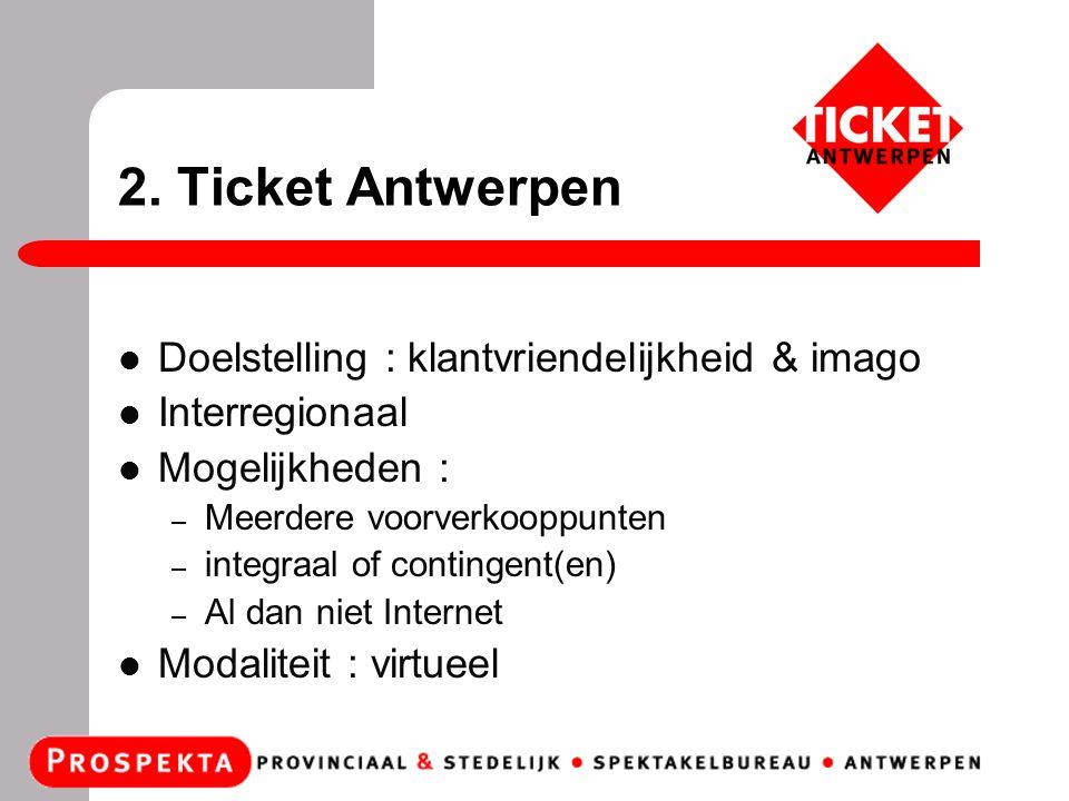 2. Ticket Antwerpen Doelstelling : klantvriendelijkheid & imago Interregionaal Mogelijkheden : – Meerdere voorverkooppunten – integraal of contingent(