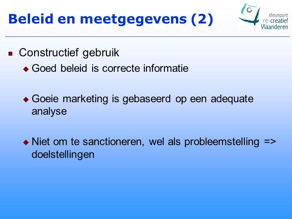 Beleid en meetgegevens (2) Constructief gebruik  Goed beleid is correcte informatie  Goeie marketing is gebaseerd op een adequate analyse  Niet om te sanctioneren, wel als probleemstelling => doelstellingen