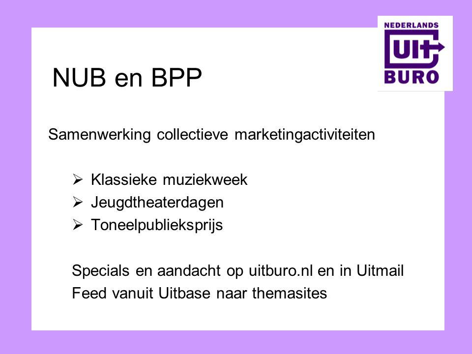 NUB en BPP Samenwerking collectieve marketingactiviteiten  Klassieke muziekweek  Jeugdtheaterdagen  Toneelpublieksprijs Specials en aandacht op uit